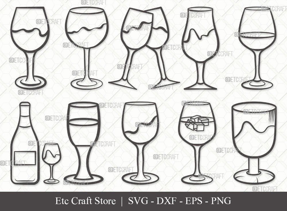 Wine Glass Outline SVG Cut File   Drinking Glass