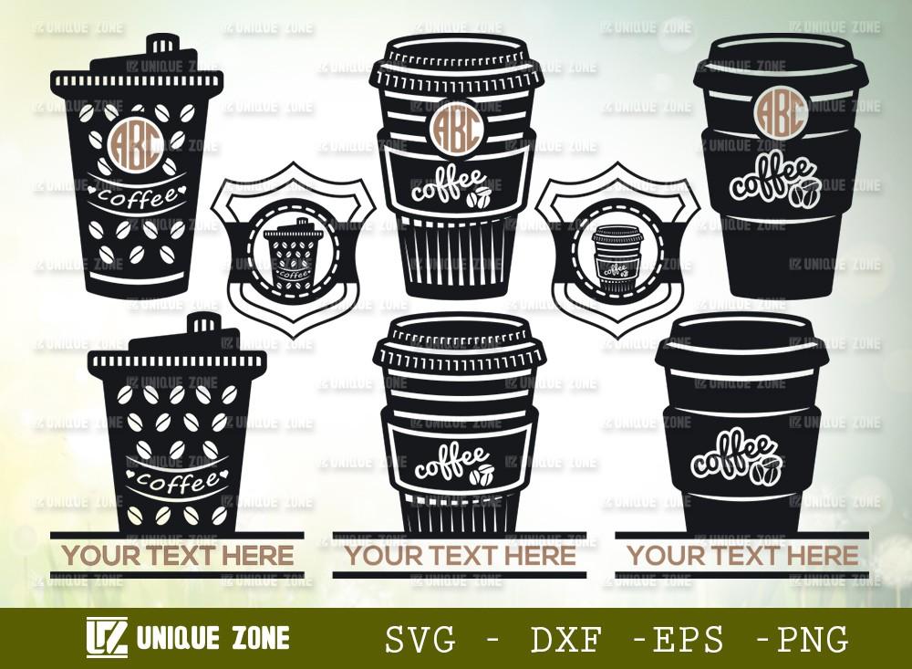Coffee Cup Monogram SVG Cut File | Coffee Cup Svg