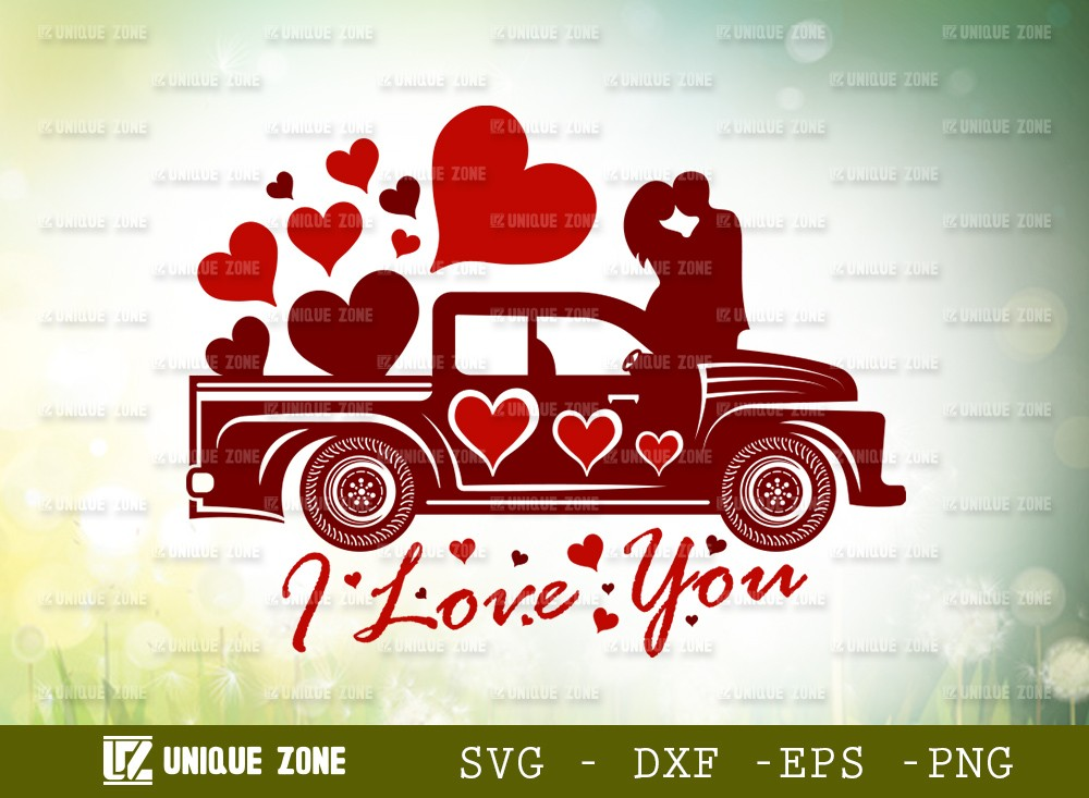I Love You With Truck SVG Cut File   Love Svg