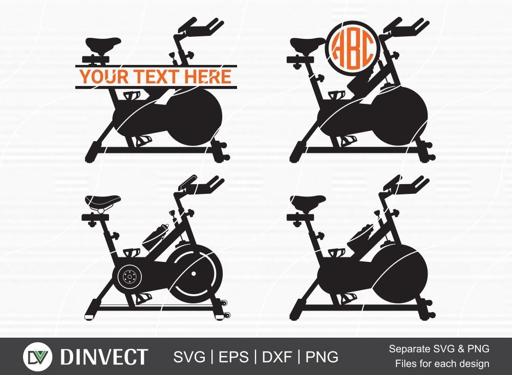 Spin Bike SVG, Spin Bike Silhouette, Spin Bike Monogram