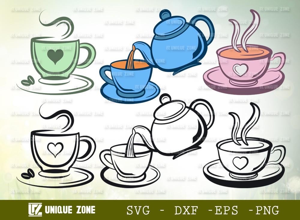 Tea Set SVG Cut File | Tea Cup Svg | Tea Kettle Svg