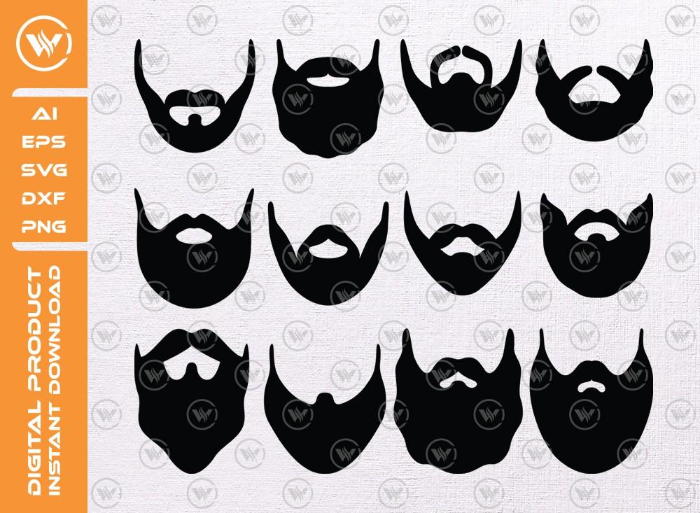 Beard SVG | Beard Silhouette | Beard Icon SVG Cut File