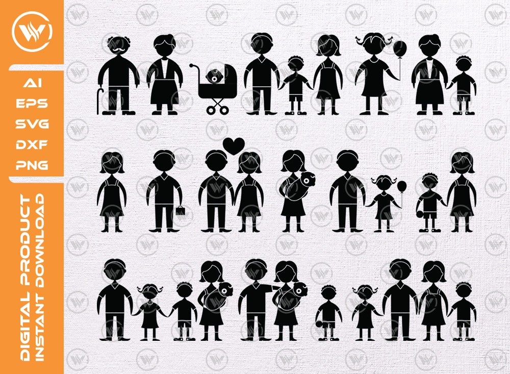 Family icons SVG | People Silhouette | People Icon SVG