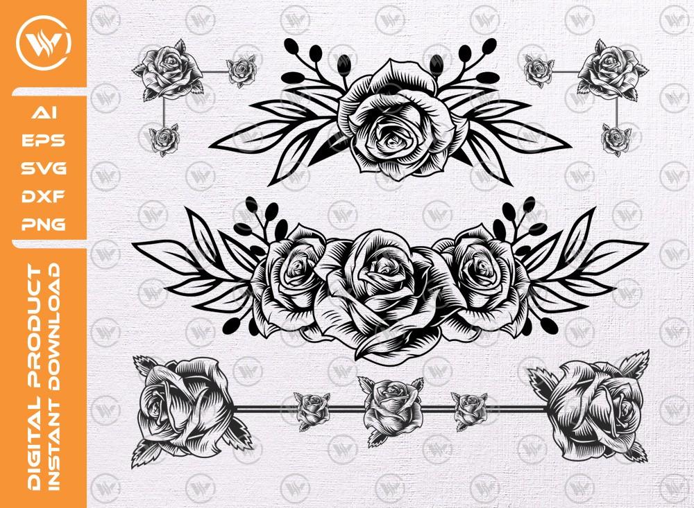Flower border SVG | Floral Decoration Silhouette