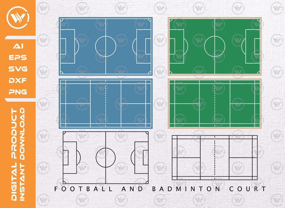 Football and Badminton court SVG | Silhouette