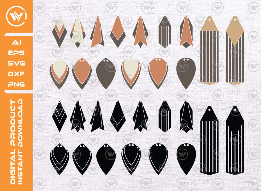 Leather earrings SVG | Earrings Silhouette
