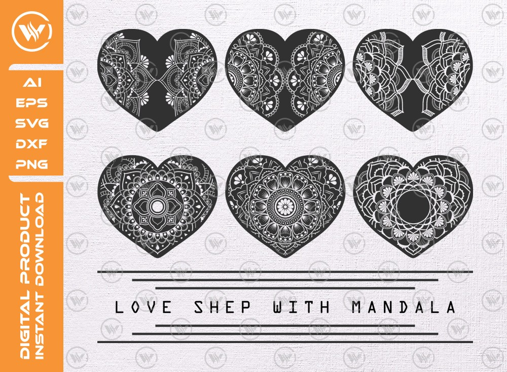 Love Shape With Mandala SVG | Heart Shape With Mandala cut file