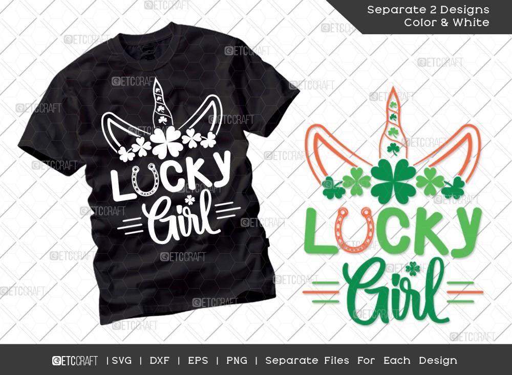 Lucky Girl SVG Cut File   St Patricks Day Svg  