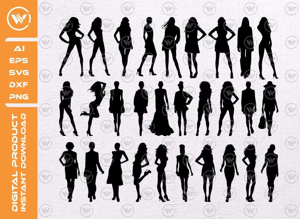 Modeling Girls SVG | Girls Silhouette | Modeling Icon SVG