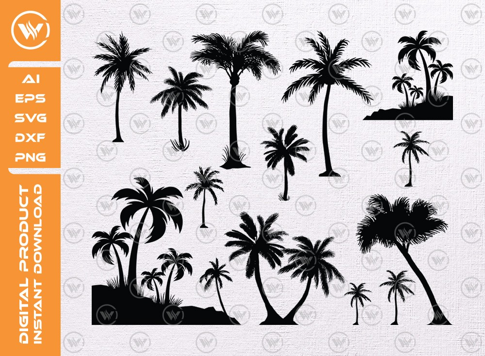Palm Tree SVG   Palm Tree Silhouette   Palm Tree Cut File