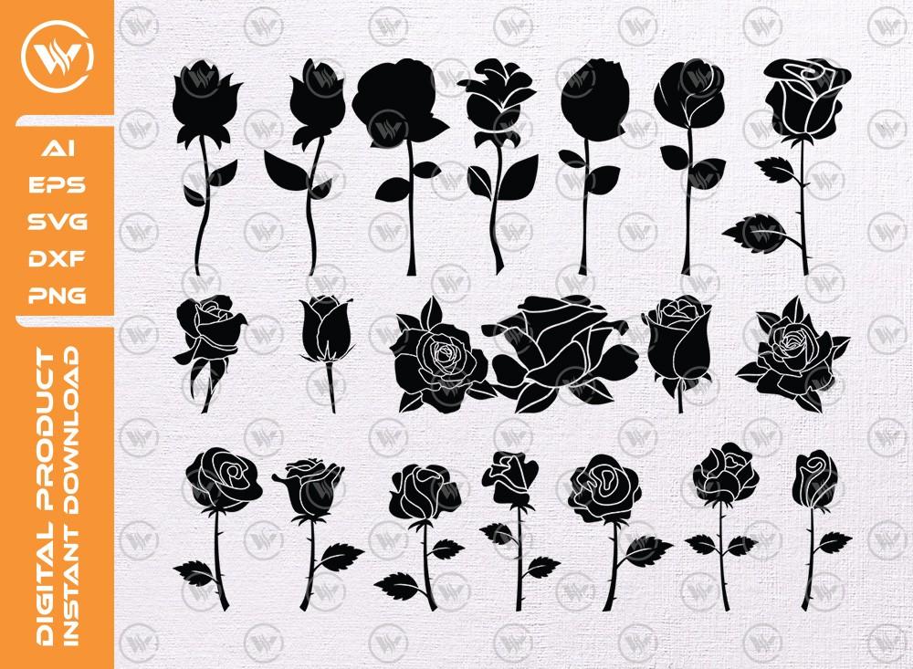 Rose SVG   Rose Silhouette   Rose Icon SVG Cut File