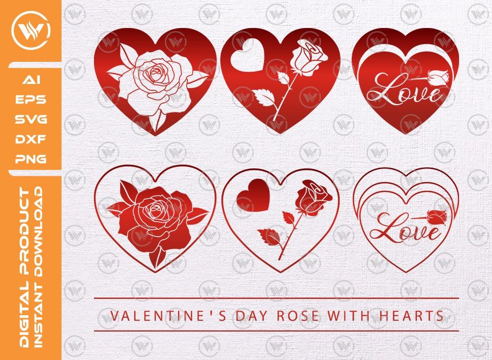 Valentines Day Rose Hearts SVG | Valentine Svg