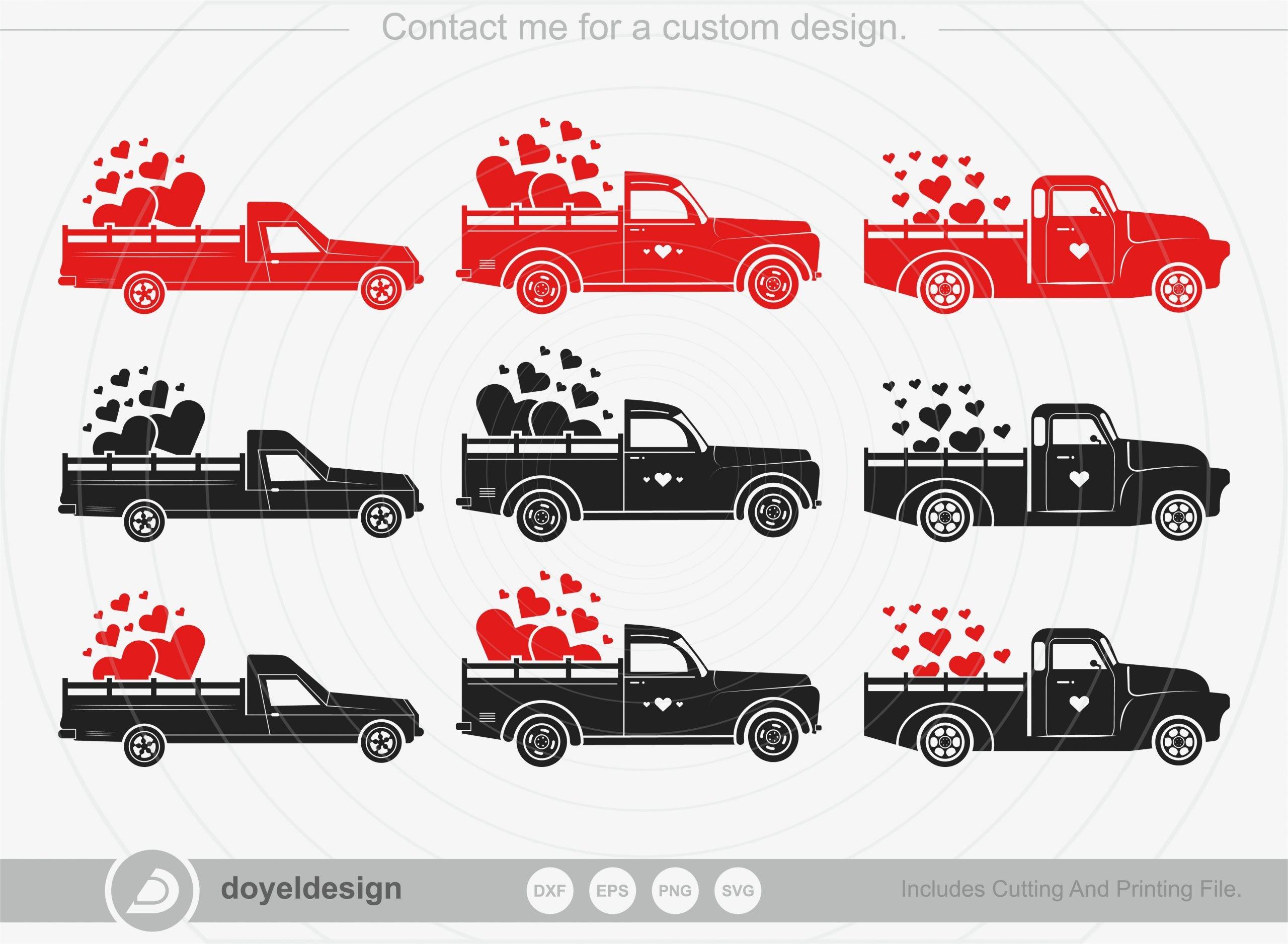 Valentines Truck BundleSVG Cut File
