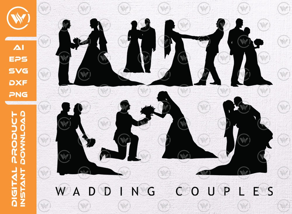 Wedding Couples SVG | Couples Silhouette | Couples SVG