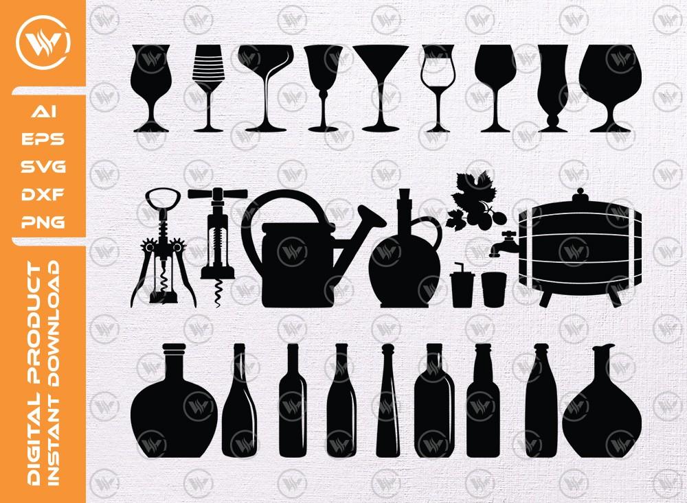Wine Bottle Glasses SVG | Bottle Silhouette