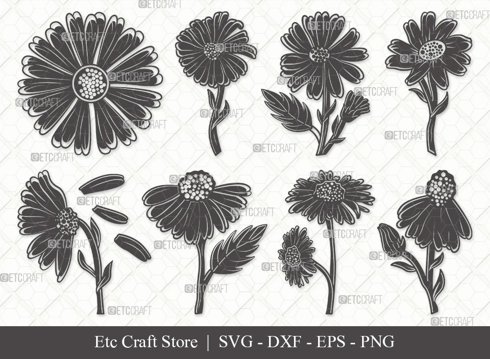 Daisy Flower Silhouette SVG | Daisy Flower Svg
