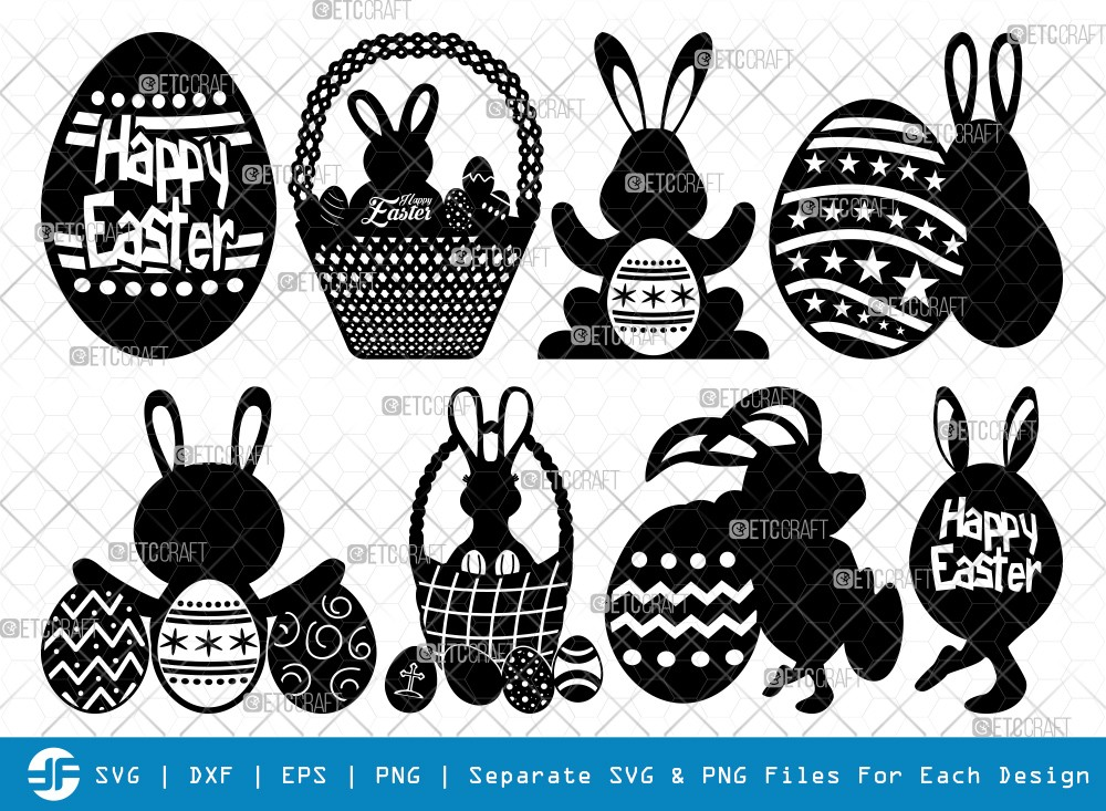 Easter Basket SVG Cut Files | Egg Silhouette