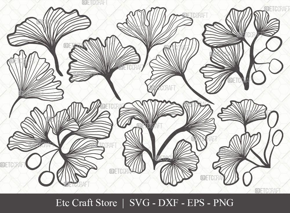 Ginkgo Leaves Outline SVG | Ginko Biloba Svg