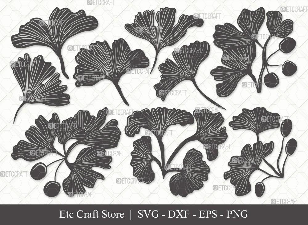 Ginkgo Leaves Silhouette SVG   Ginkgo Leaf Svg