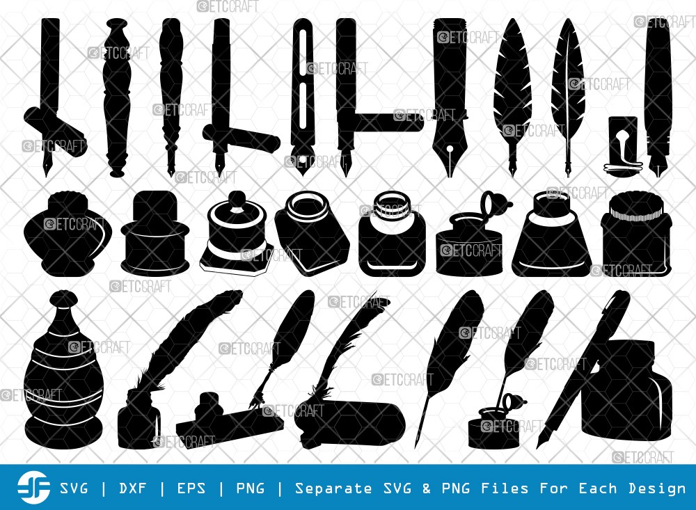 Inkwell Pen SVG Cut Files | Inkwell Silhouette