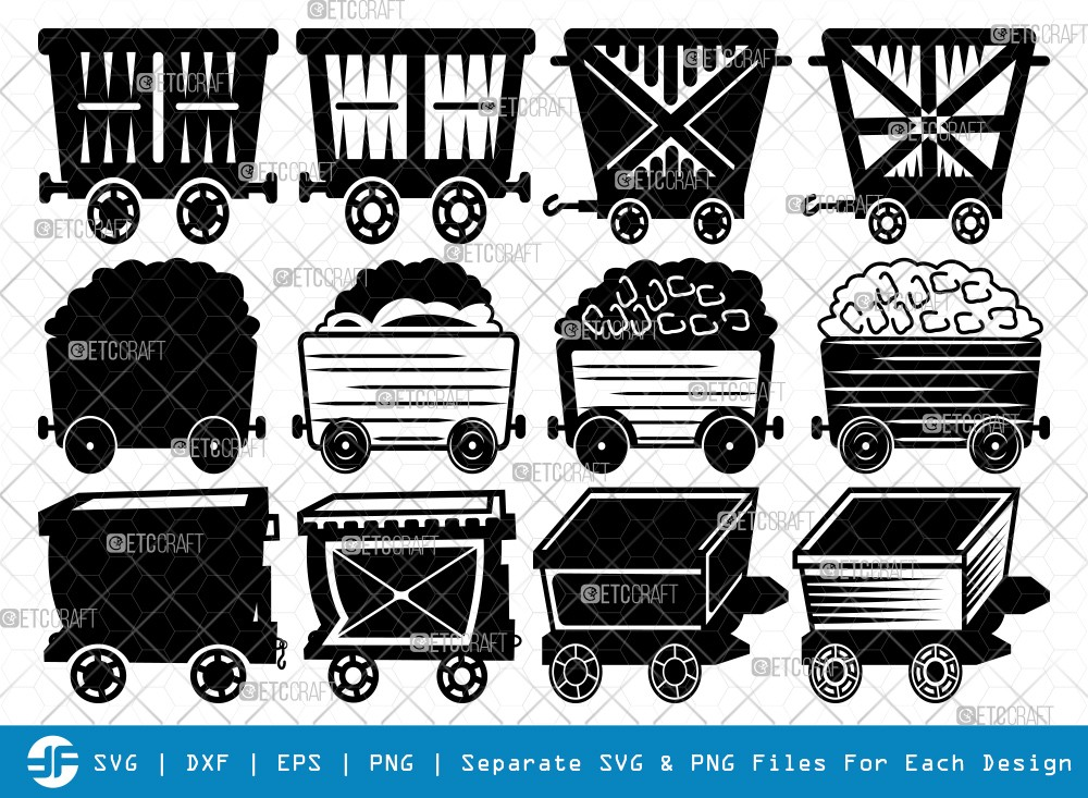 Mining Cart And Shovel SVG Cut Files