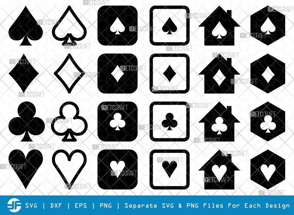 Playing Cards SVG Cut Files | Cards Silhouette