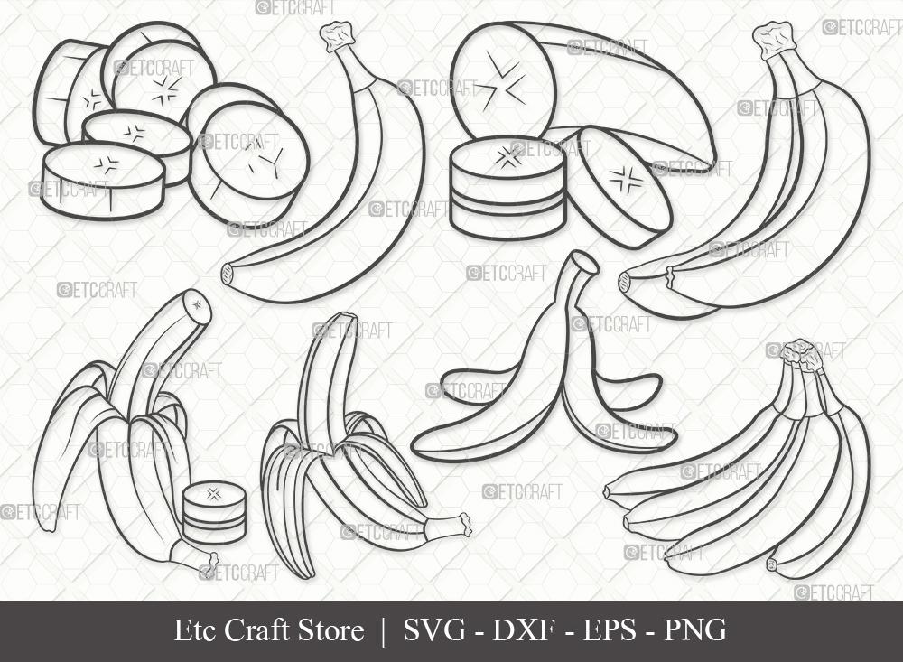 Banana Outline SVG Cut File | Fruits Svg