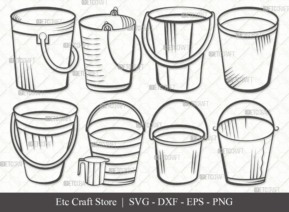 Bucket Outline SVG Cut File | Cleaning Svg