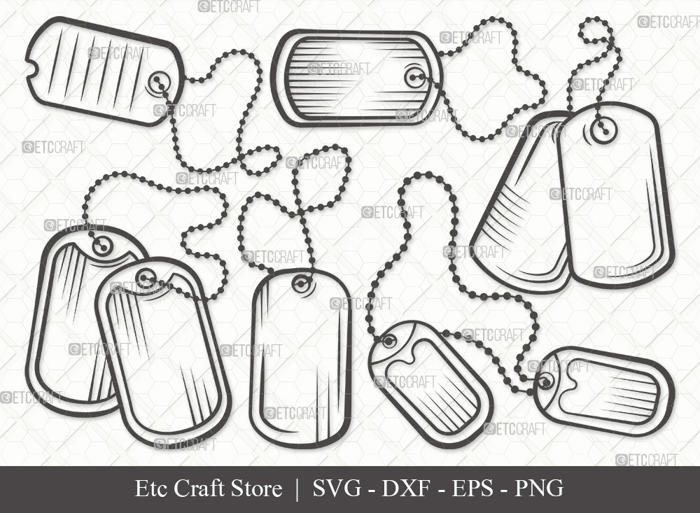 Dog Tags Army Outline SVG | Dog Tags Svg