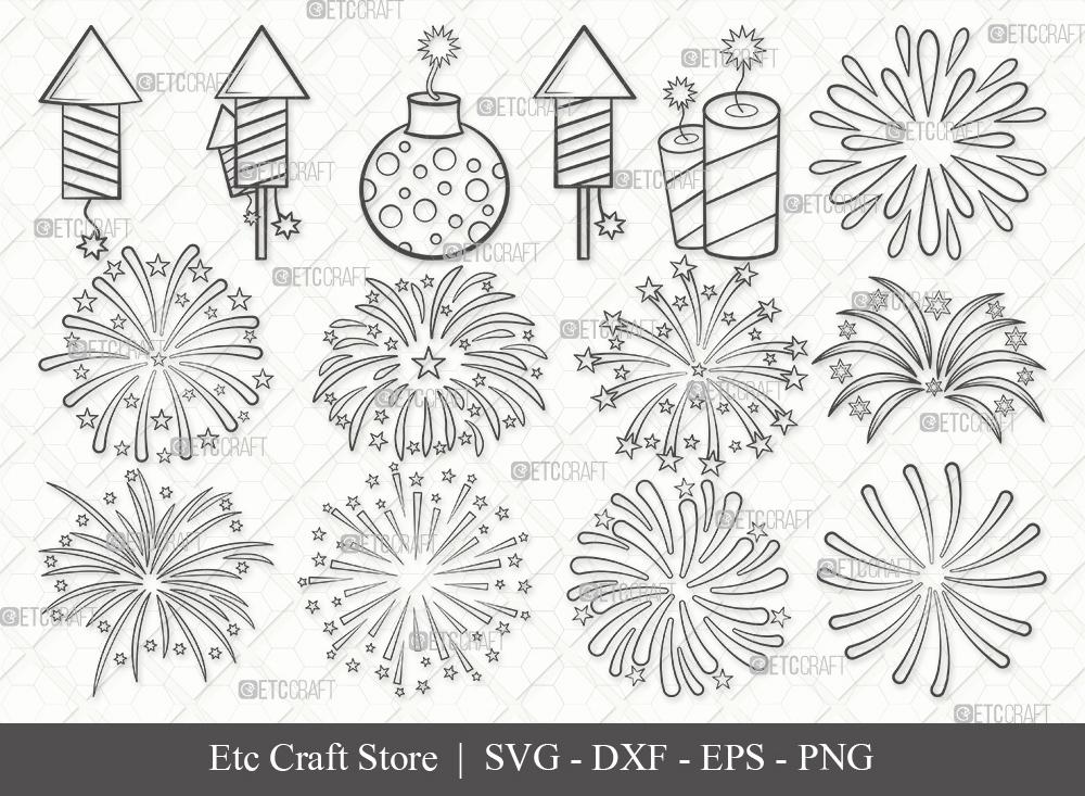 Fireworks Outline SVG Cut File | 4th Of July Svg
