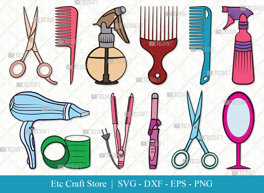 Hair Salon Clipart SVG Cut File | Hair Dryer Svg