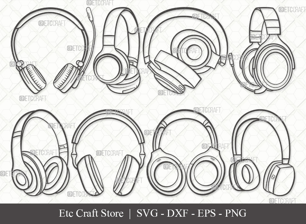 Headphone Outline SVG   Audio Headset Svg