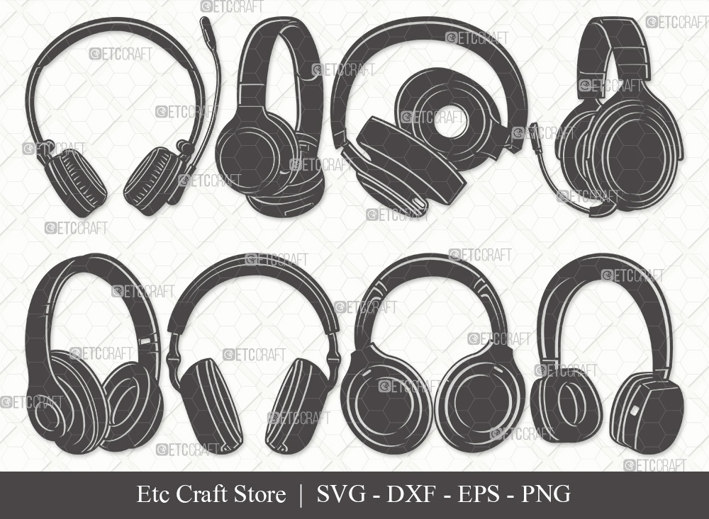 Headphone Silhouette SVG | Audio Headset Svg