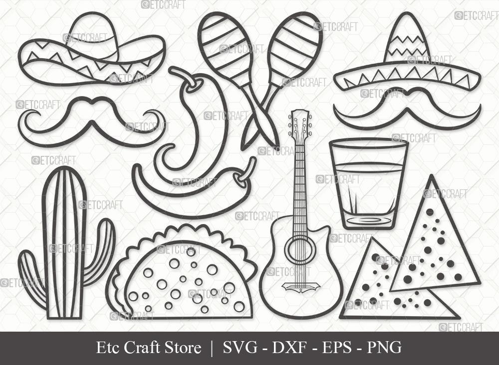 Mexican Outline SVG   Cinco De Mayo Svg