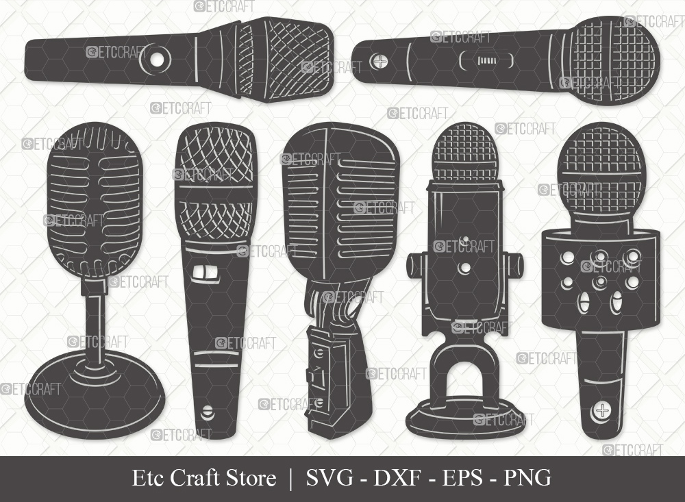 Microphone Silhouette SVG Cut File | Sound Svg