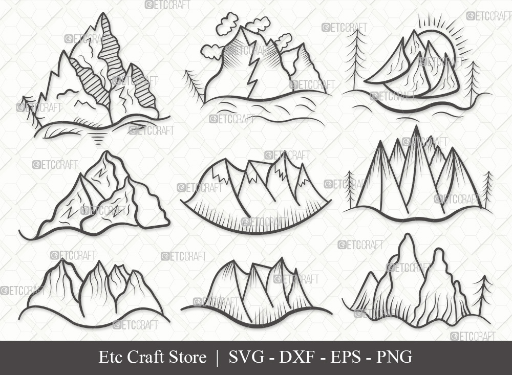 Mountain Outline SVG Cut File | Nature Svg