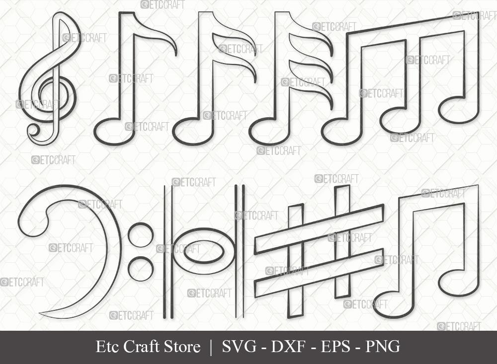 Music Notes Outline SVG Cut File | Music Svg