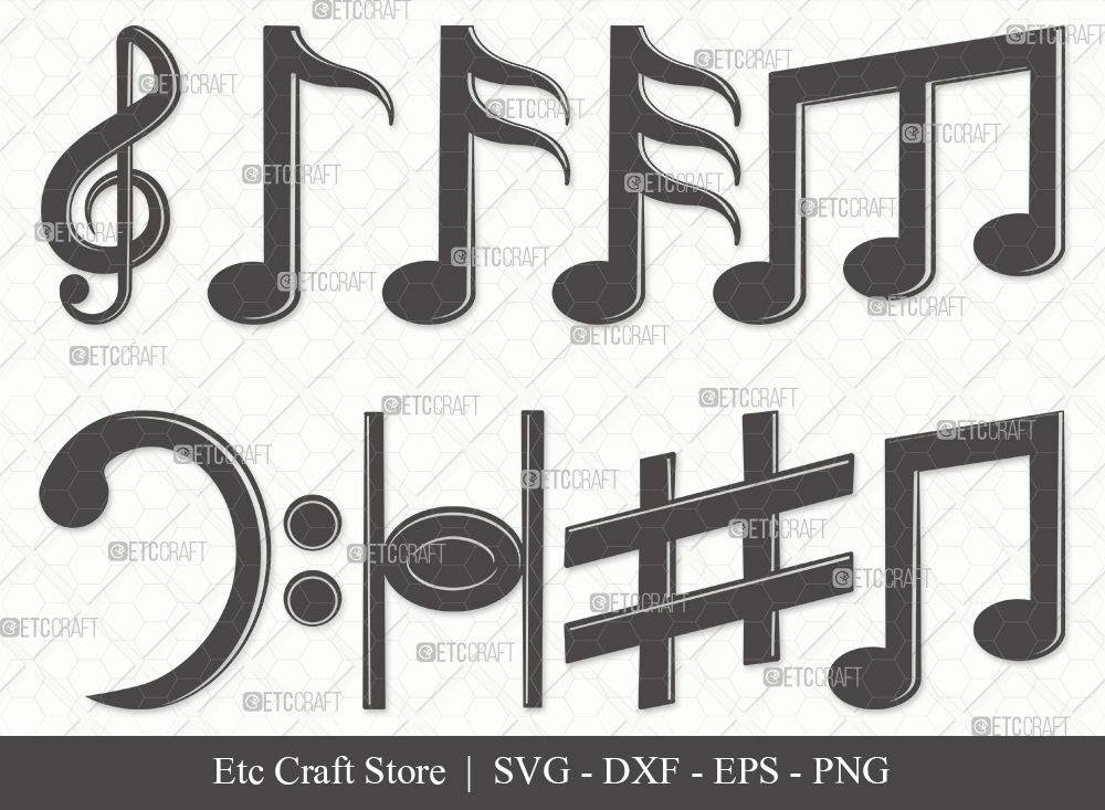 Music Notes Silhouette SVG Cut File | Music Svg