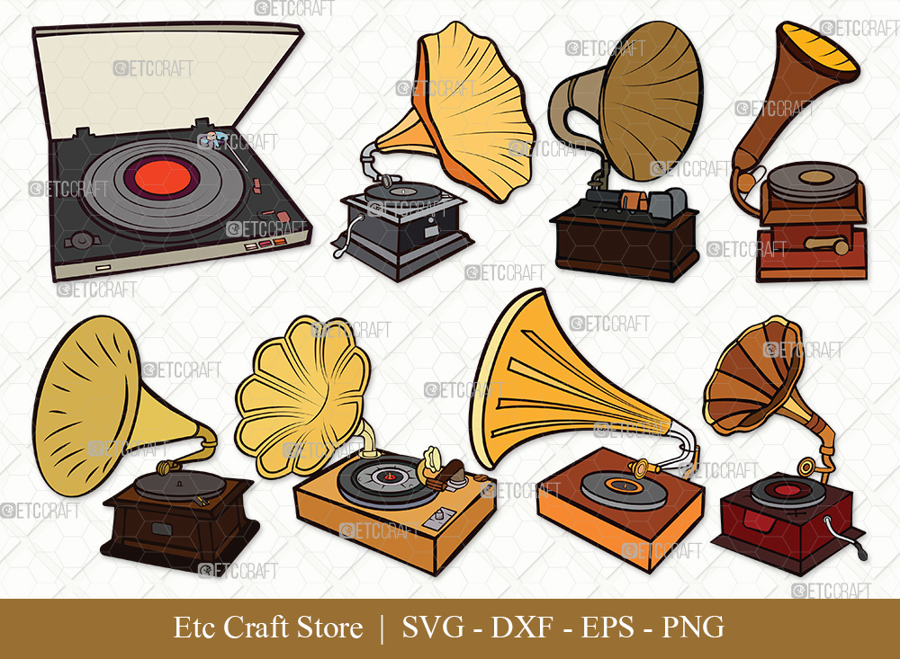 Phonograph Clipart SVG Cut File | Record Player Svg