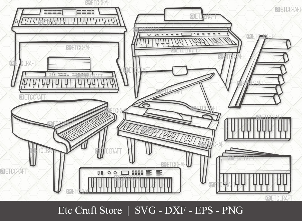 Piano Outline SVG Cut File | Synth Svg