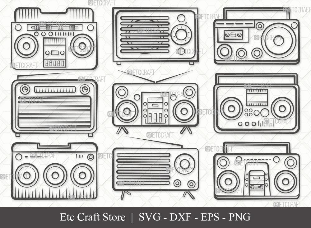 Radio Boombox Outline SVG Cut File | Radio Svg