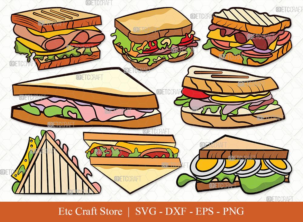 Sandwich Clipart SVG Cut File   Food Svg