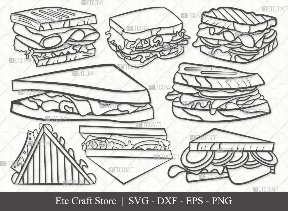 Sandwich Outline SVG Cut File | Food Svg