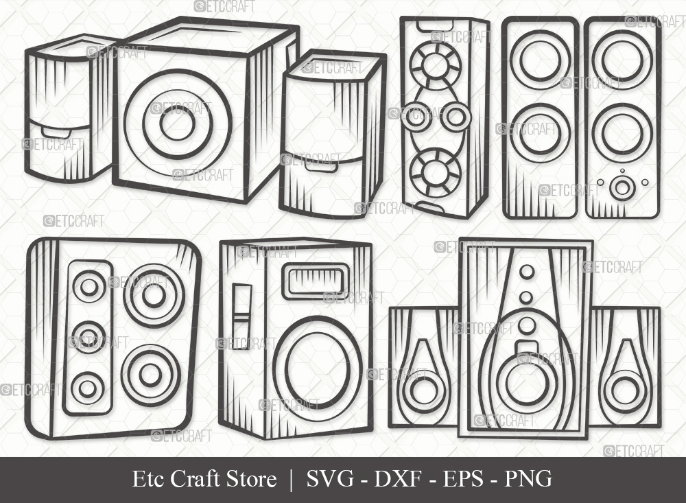Sound Box Outline SVG Cut File | Speakers Svg