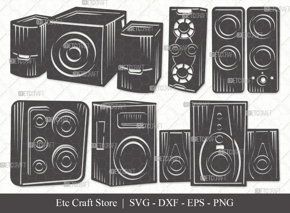 Sound Box Silhouette SVG Cut File | Speakers Svg