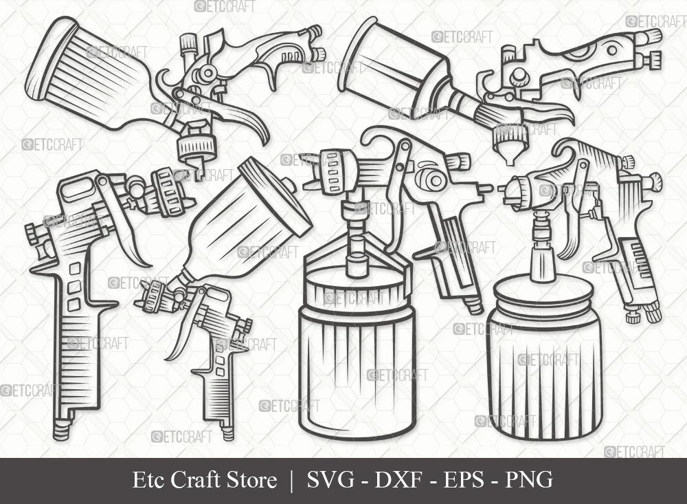 Spray Gun Outline SVG   Paint Spray Gun Svg