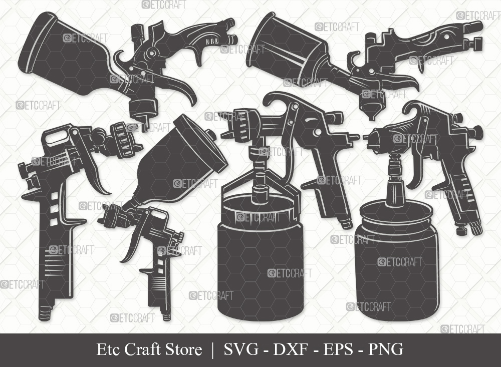 Spray Gun Silhouette SVG   Paint Spray Gun Svg