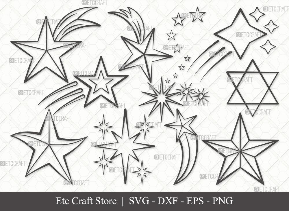 Stars Outline SVG Cut File | Glowing Stars Svg