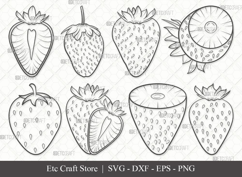 Strawberry Outline SVG Cut File   Fruit Svg