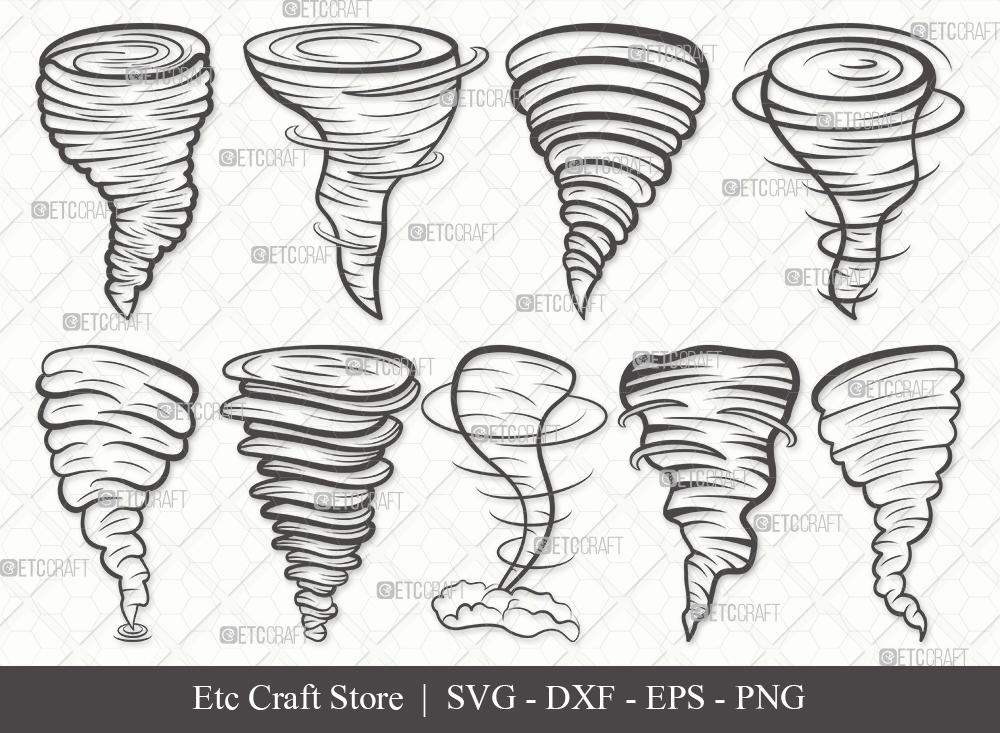 Tornado Outline SVG Cut File | Twister Storm Svg